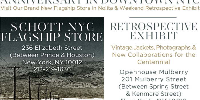 Schott Bros. 100th Anniversary Party in NYC on 10/4!!! How are you, NYC!!!