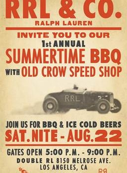 "RRL Melrose ""Summer BBQ Party"" on 8/22 5-9pm, featuring Old Crow Speed Shop"